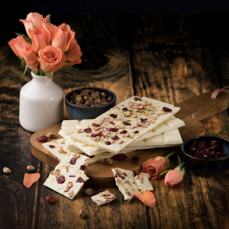 White Chocolate - Pistachio With Cranberry And Rose Petals - Set Of 3-SWEETS + DESSERTS-PropShop24.com