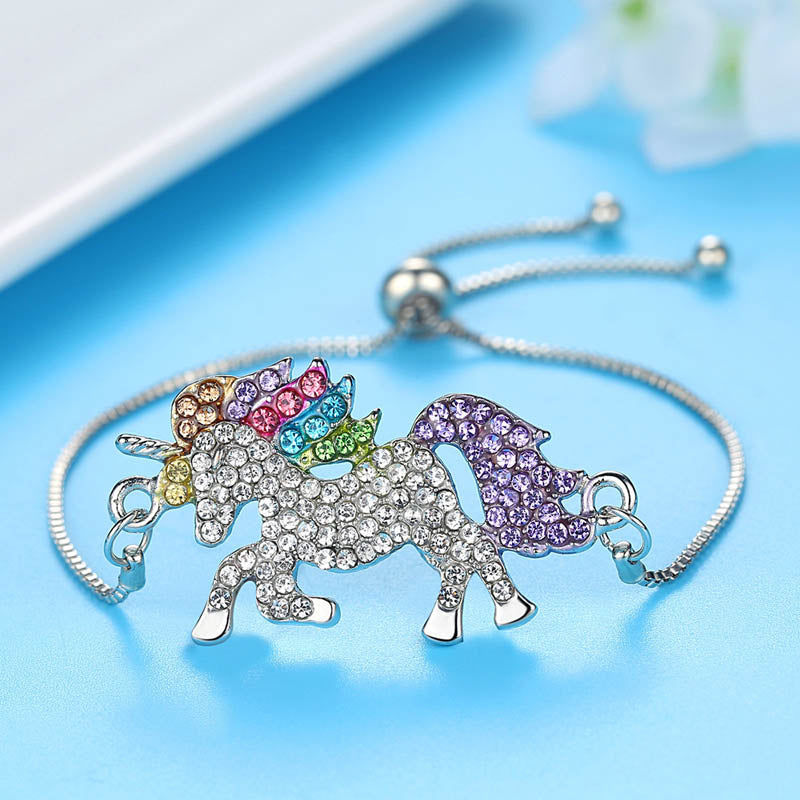 Bracelet With Adjustable Belt - Silver Crystal Unicorn-BANGLES + CUFFS + BRACELETS-PropShop24.com
