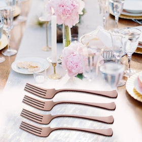 Metal Cutlery - Dinner Fork - Rose Gold - Set of 4-HOME-PropShop24.com