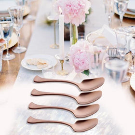 Metal Cutlery - Dinner Spoon - Rose Gold - Set of 4-HOME-PropShop24.com
