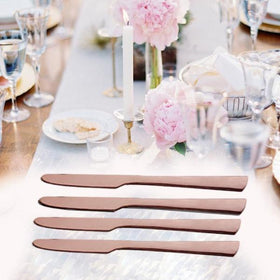 Metal Cutlery - Dinner Knife - Rose Gold - Set of 4-HOME-PropShop24.com