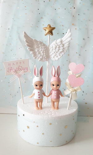 Cake Topper - White Angel Wing Cake Toppers- Pack Of 3-BAR + PARTY-PropShop24.com
