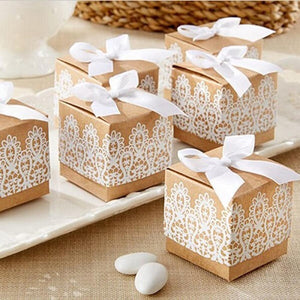 Rustic White Lace Kraft Gift Box - Pack Of 10-DESK ACCESSORIES-PropShop24.com