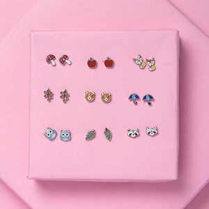 Colourful Studs - Fruits And Animal - Set Of 9-EARRINGS-PropShop24.com