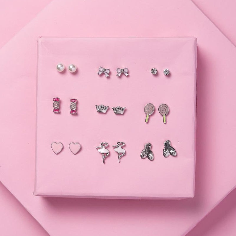 Colourful Studs - Candy And Heart - Set Of 9-EARRINGS-PropShop24.com