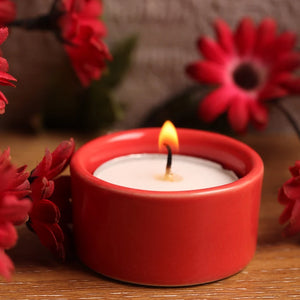 Festive Tea Light Diya - Red-CANDLES + AROMA-PropShop24.com