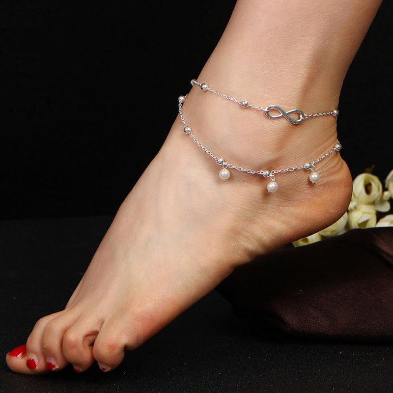 Anklet - Silver Infinity Gisa Layered-ANKLETS-PropShop24.com