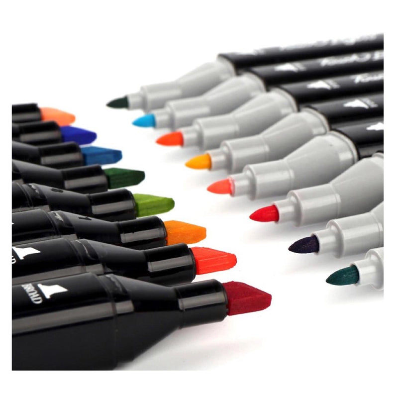 Markers - Dual Ink - Set Of 12-PENS + PENCILS + PAPER CLIPS-PropShop24.com