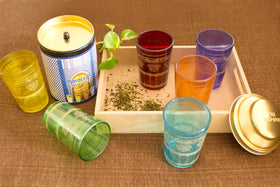 Designer Moroccan tea glasses with wooden tray-HOME-PropShop24.com