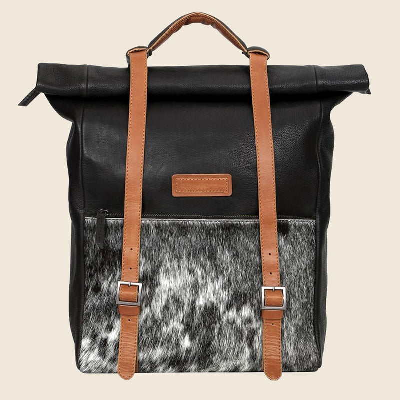 Black And Tan Genuine Leather Backpack-WOMEN-PropShop24.com