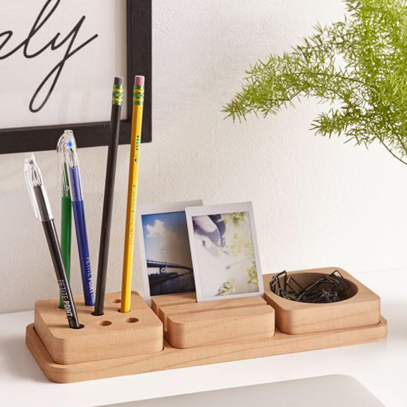 Pine Stationery Tray Desk Organizer - Set Of 3-DESK ACCESSORIES-PropShop24.com