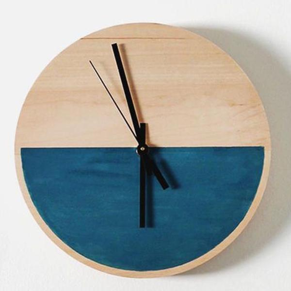 Pine Semicircle Wall Clock-HOME ACCESSORIES-PropShop24.com