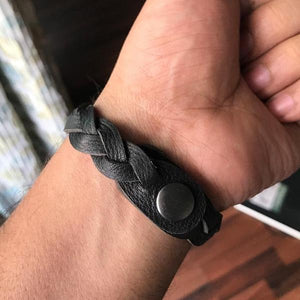Black Braided Unisex Leather Wrist Band-MEN-PropShop24.com