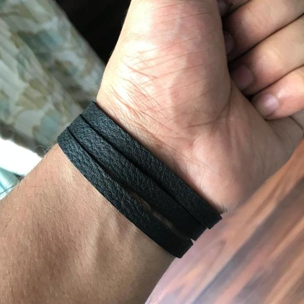 Black Slit Unisex Leather Wrist Band-MEN-PropShop24.com