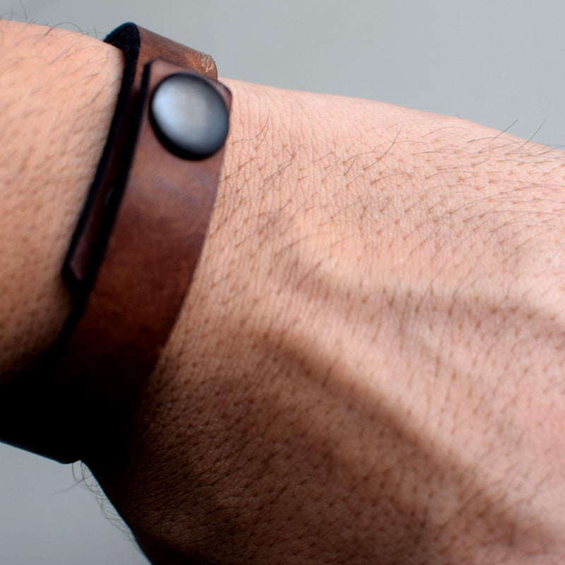 Brown Unisex Leather Wrist Band-MEN-PropShop24.com