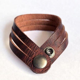 Brown Slit unisex Leather Wrist band-FASHION-PropShop24.com