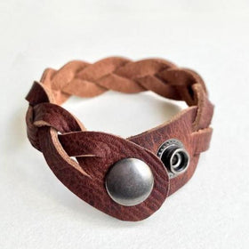 Brown braided unisex Leather Wrist band-FASHION-PropShop24.com