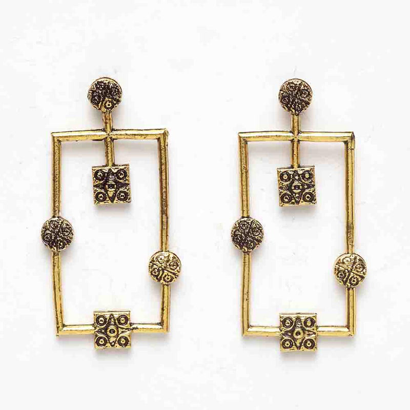 Aakriti Oxidized Golden Rectangular Dangler Earrings-EARRINGS-PropShop24.com