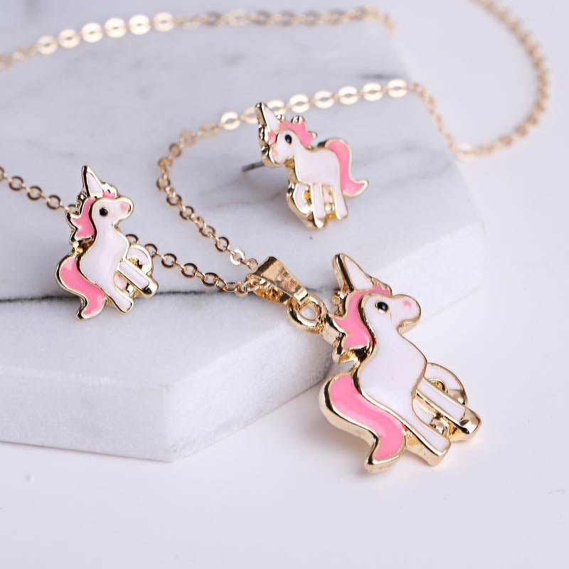 Pendant And Earrings Set - Unicorn Charm-NECKLACE-PropShop24.com