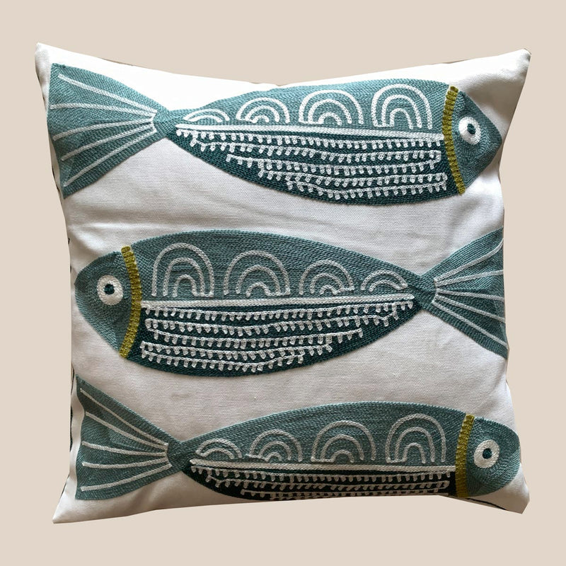Cushion Cover - Fish - Green-HOME ACCESSORIES-PropShop24.com