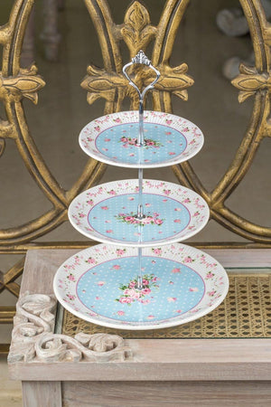3 Layer Blue Cake Plate-DINING + KITCHEN-PropShop24.com