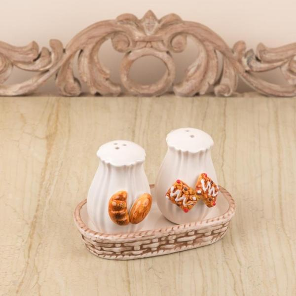 Cookies And Croissants Design Salt And Pepper Set With Tray-KITCHEN-PropShop24.com