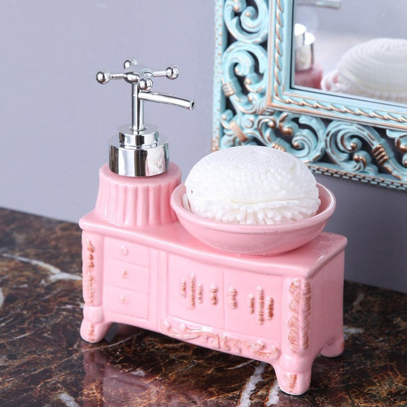 Pink Washbasin Soap Dispenser With Sponge-BATHROOM ESSENTIALS-PropShop24.com