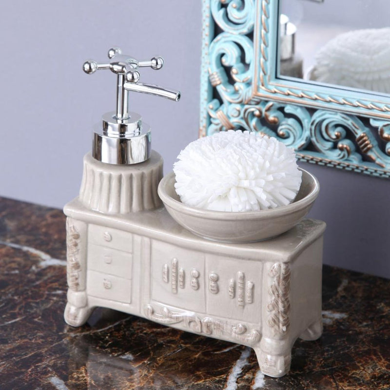 Grey Washbasin Soap Dispenser With Sponge-BATHROOM ESSENTIALS-PropShop24.com