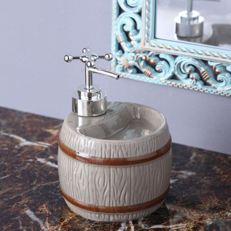 Grey Barrel Soap Dispenser-BATHROOM ESSENTIALS-PropShop24.com