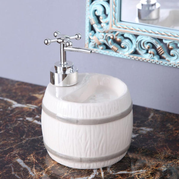 White Barrel Soap Dispenser-HOME-PropShop24.com
