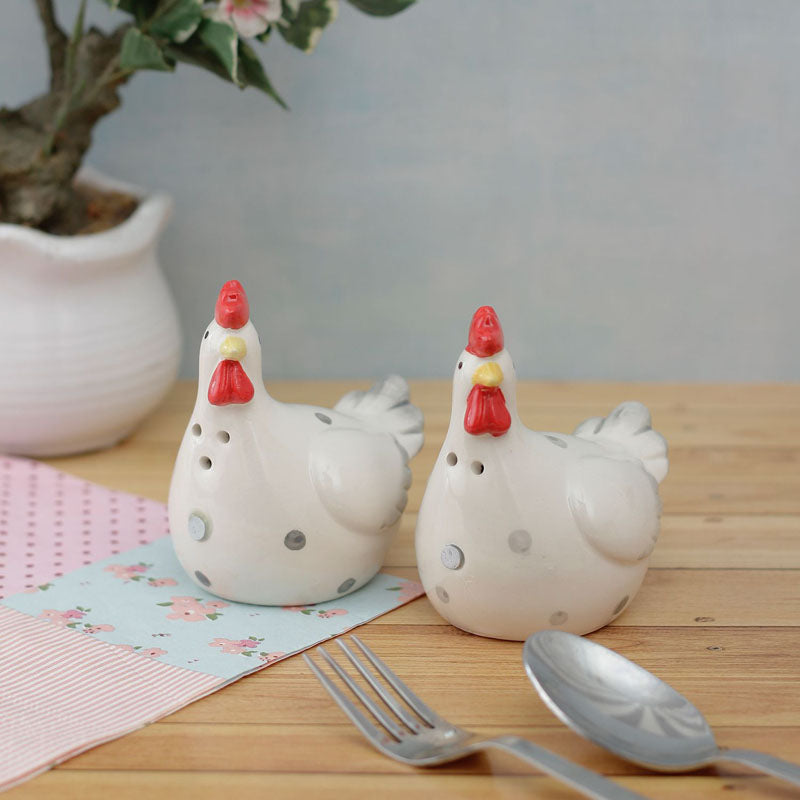 Salt And Pepper Shaker Set - White Hens-DINING + KITCHEN-PropShop24.com