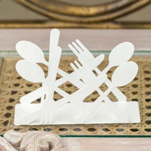 Spoon And Fork White Tissue Organizer-DINING + KITCHEN-PropShop24.com