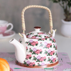 Bright pink and green floral ceramic tea pot-HOME-PropShop24.com