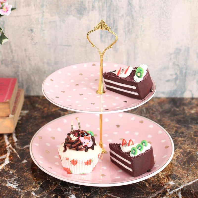 Cute Pink Hearts Designer 2-Tier Cake Stand-DINING + KITCHEN-PropShop24.com