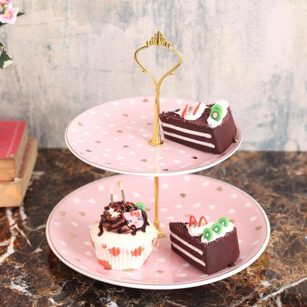 Cute Pink Hearts Designer 2-tier cake stand-HOME-PropShop24.com