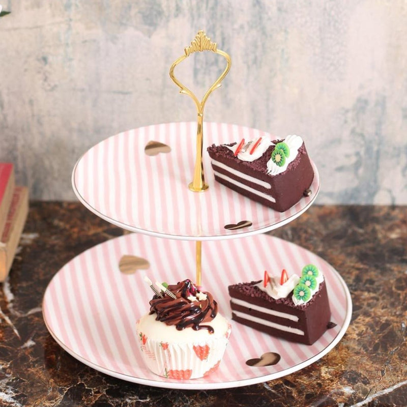 Pretty Pink And White Stripes Designer 2- Tier Cake Stand-DINING + KITCHEN-PropShop24.com