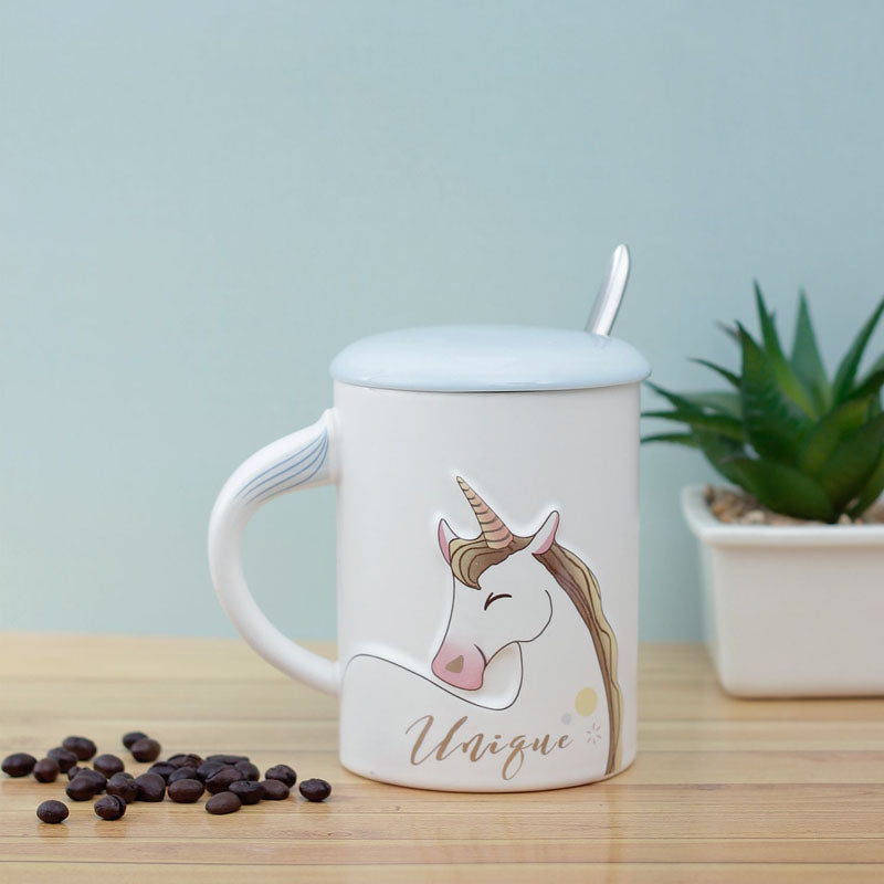 Coffee Mug With Lid And Spoon - Cute Unicorn-DINING + KITCHEN-PropShop24.com