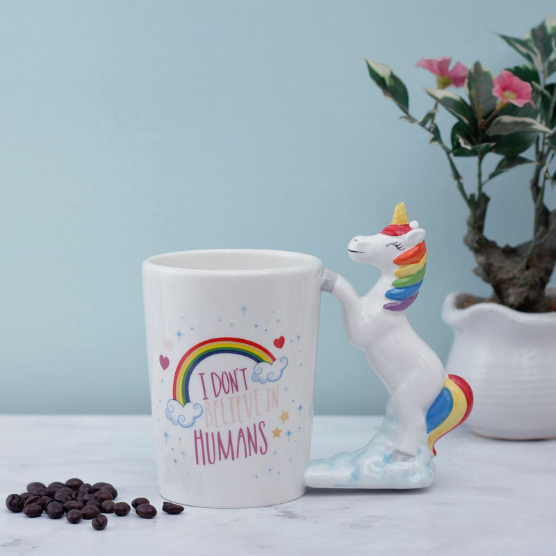 Coffee Mug - Rainbow Unicorn With Lid And Spoon-DINING + KITCHEN-PropShop24.com