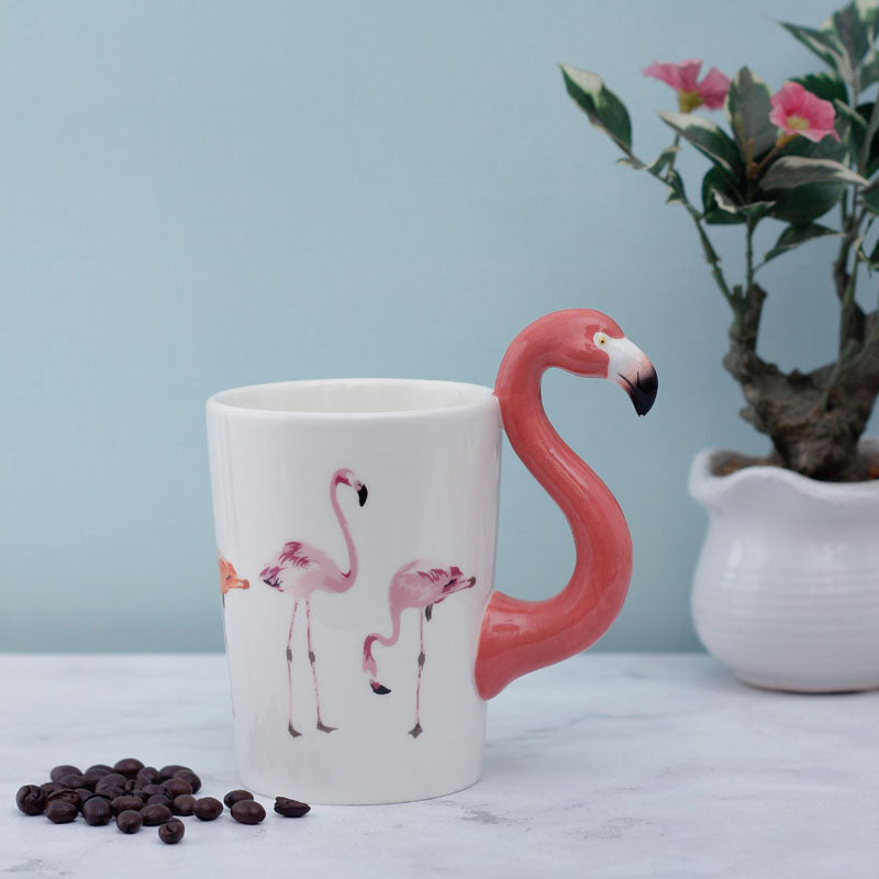 Coffee Mug - Red Flamingo Handle-DINING + KITCHEN-PropShop24.com