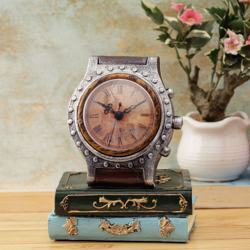 Desk Decor - Vintage Clock And Books-HOME ACCESSORIES-PropShop24.com