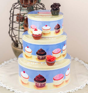 Blue Cupcake Metal Tins-HOME ACCESSORIES-PropShop24.com
