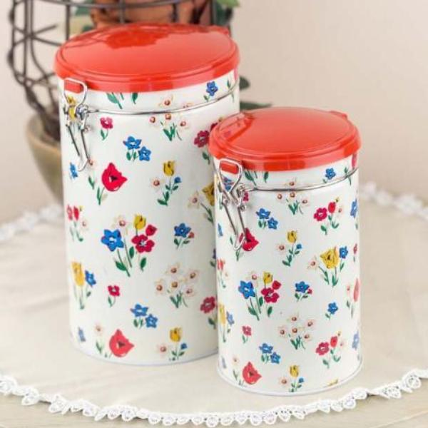 Yellow Floral Metal Tins-HOME ACCESSORIES-PropShop24.com
