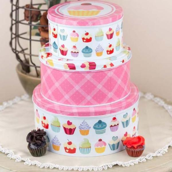 Pink Cupcake Metal Tins-HOME ACCESSORIES-PropShop24.com