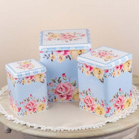 Long Floral Metal Tins Canister-PERSONAL-PropShop24.com