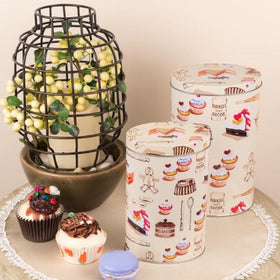 Long Dessert Design Metal Storage Storage Tins (Set Of 2)-HOME-PropShop24.com