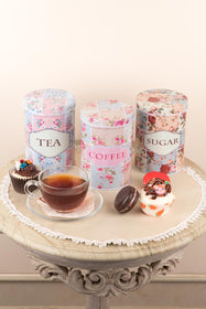 Floral Tea Coffee Sugar Metal Tin storage boxes (Set of 3)-HOME-PropShop24.com