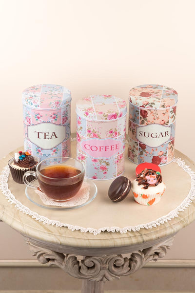 Floral Tea Coffee Sugar Metal Tin Storage Boxes (Set Of 3)-KITCHEN-PropShop24.com
