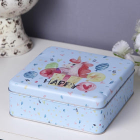 Square Happy Unicorn storage metal tin box-HOME-PropShop24.com