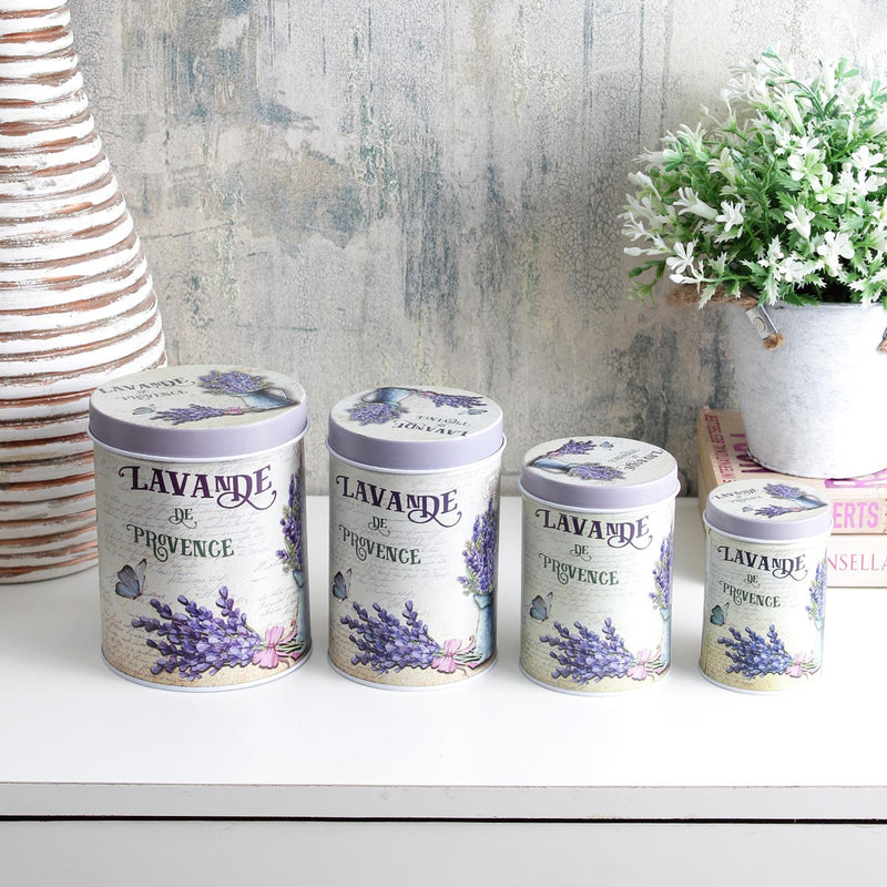 Storage Tins - Lavande De Province - Set Of 4-HOME ACCESSORIES-PropShop24.com