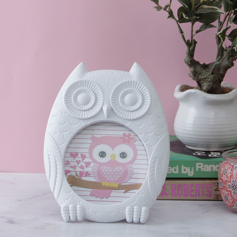 White Owl Round Photo Frame-HOME ACCESSORIES-PropShop24.com